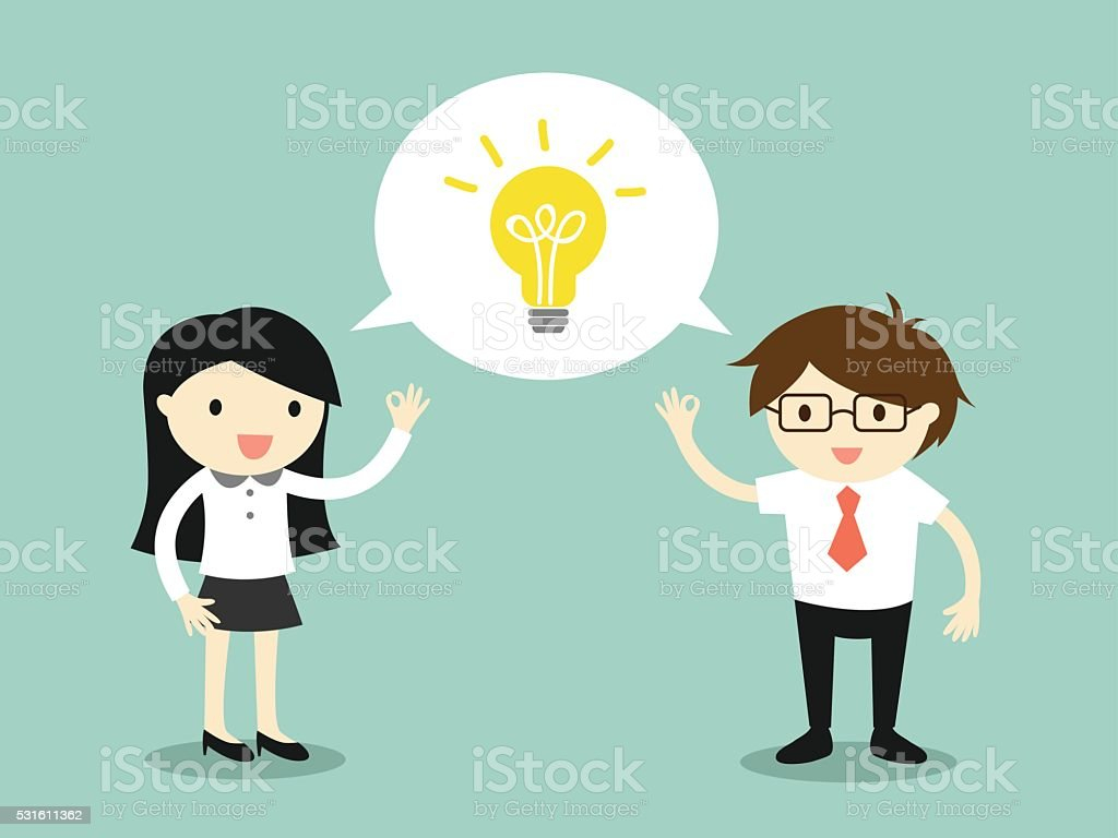 Business woman and businessman talking the same idea. vector art illustration