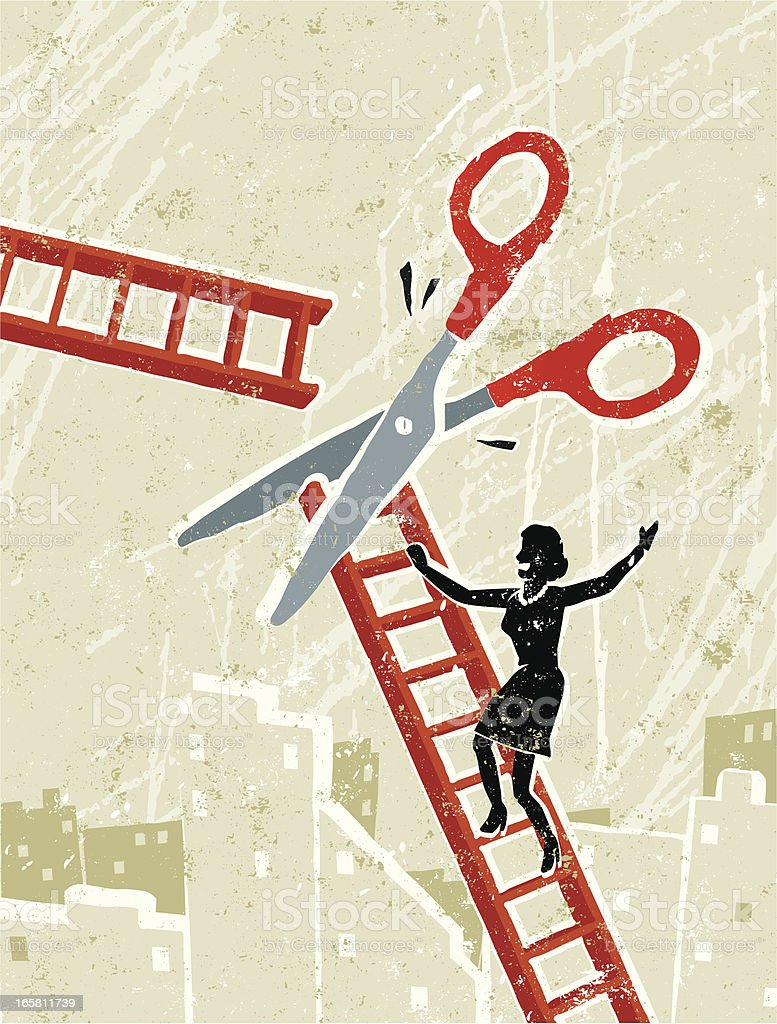 Business Woman and Corporate Ladder with Scissors vector art illustration