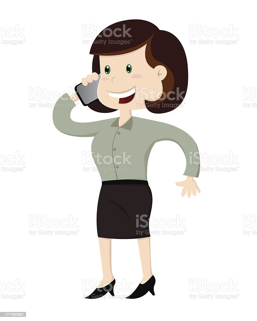 Business Woman Calling With Mobile Phone royalty-free stock vector art