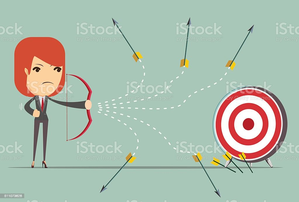 business woman can not hit the target vector art illustration