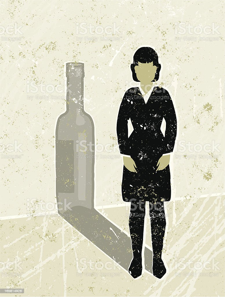 Business Woman Casting a  Wine Bottle Shadow vector art illustration