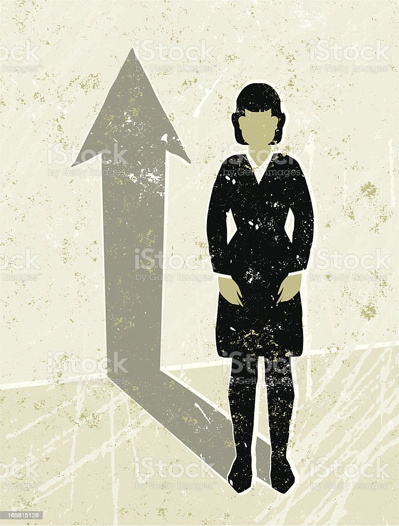 Business Woman Casting an Arrow Shaped Shadow vector art illustration