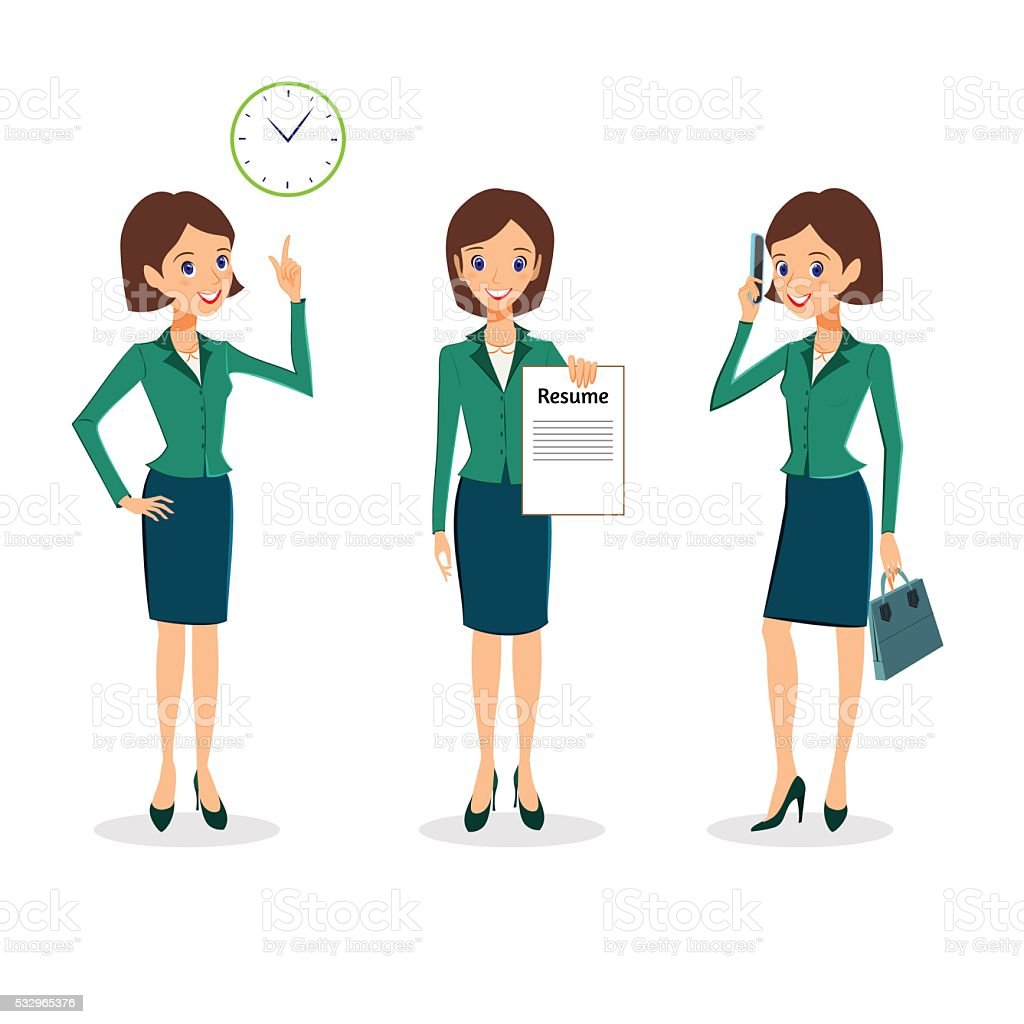 Business woman character vector set vector art illustration