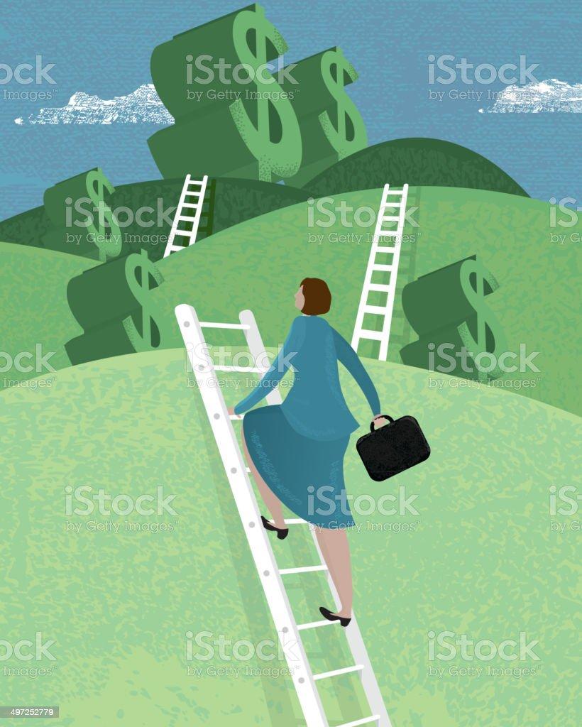 Business woman climbing the ladder concept vector art illustration