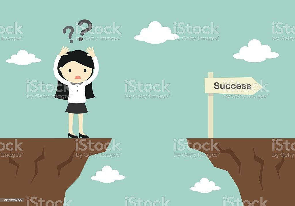 business woman confusing about how to across to another cliff. vector art illustration