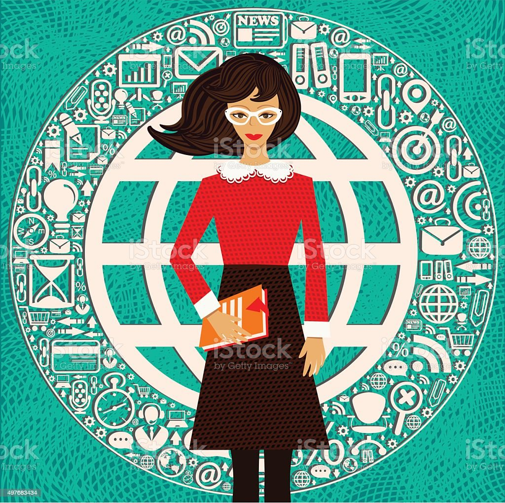 Business Woman, Education vector art illustration