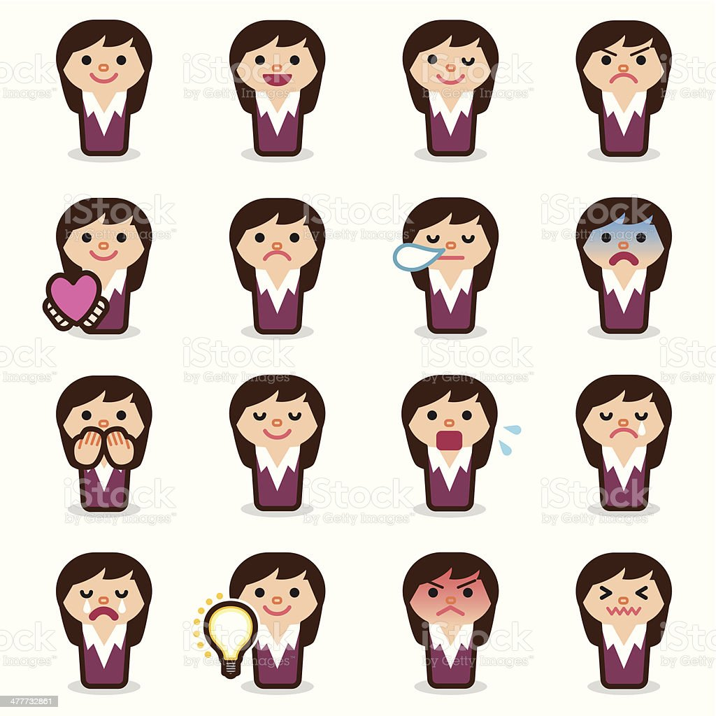 Business woman emoticons royalty-free stock vector art