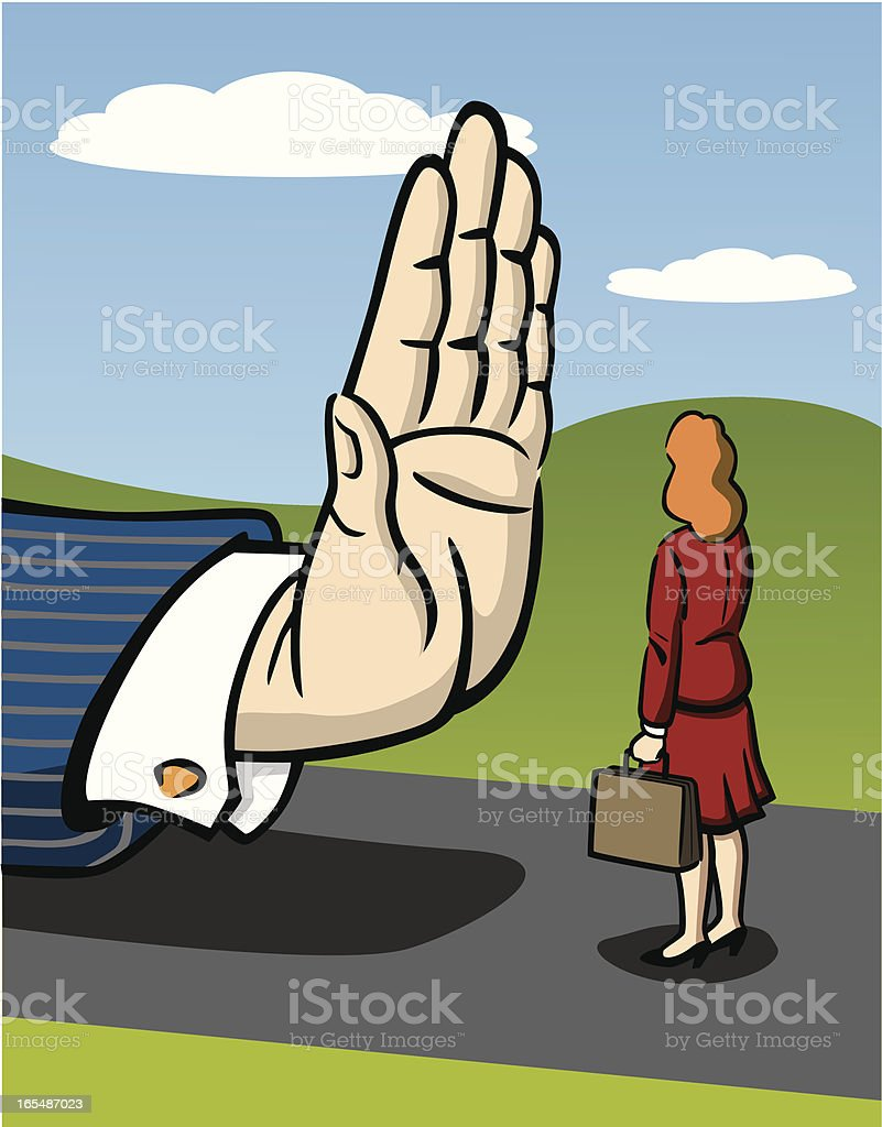 Business Woman Facing Sexism vector art illustration