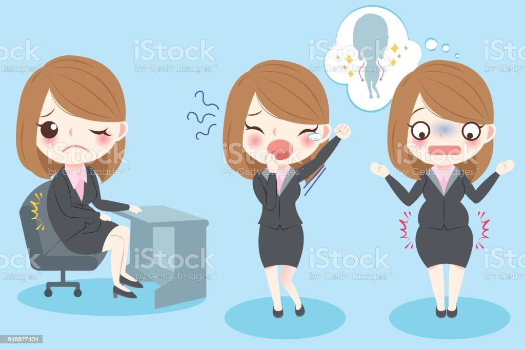 business woman feel pain vector art illustration