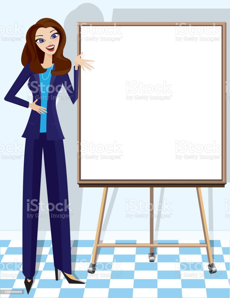 Business woman giving a presentation royalty-free stock vector art