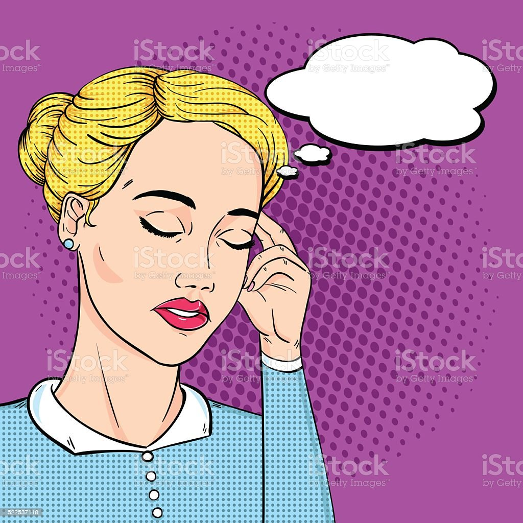 Business woman headache with thought bubble in pop art retro comic...
