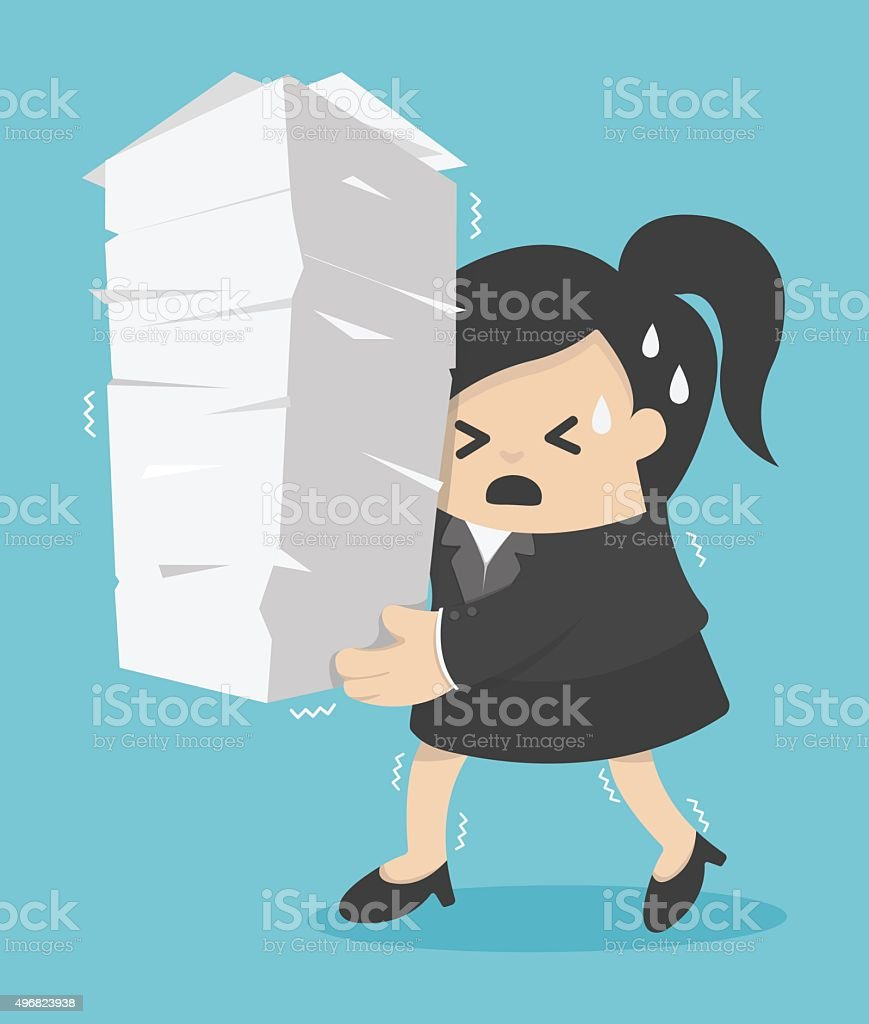 business woman holding a lot of documents vector art illustration