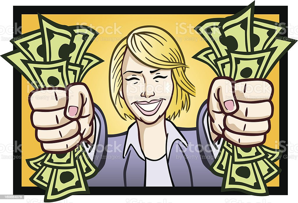 Business Woman Holding Cash royalty-free stock vector art