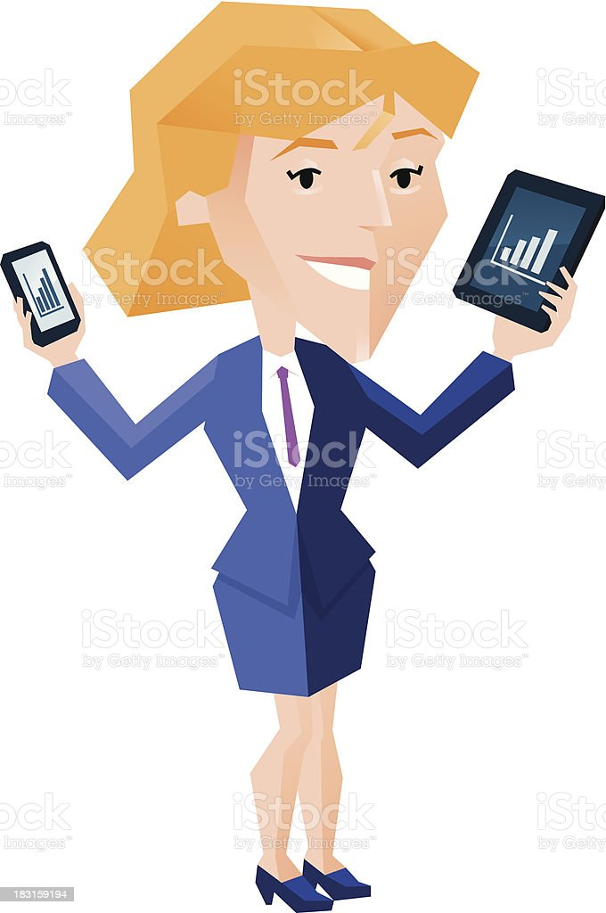 Business woman holding tablet and mobile phone royalty-free stock vector art