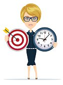 Business woman holding target and time clock