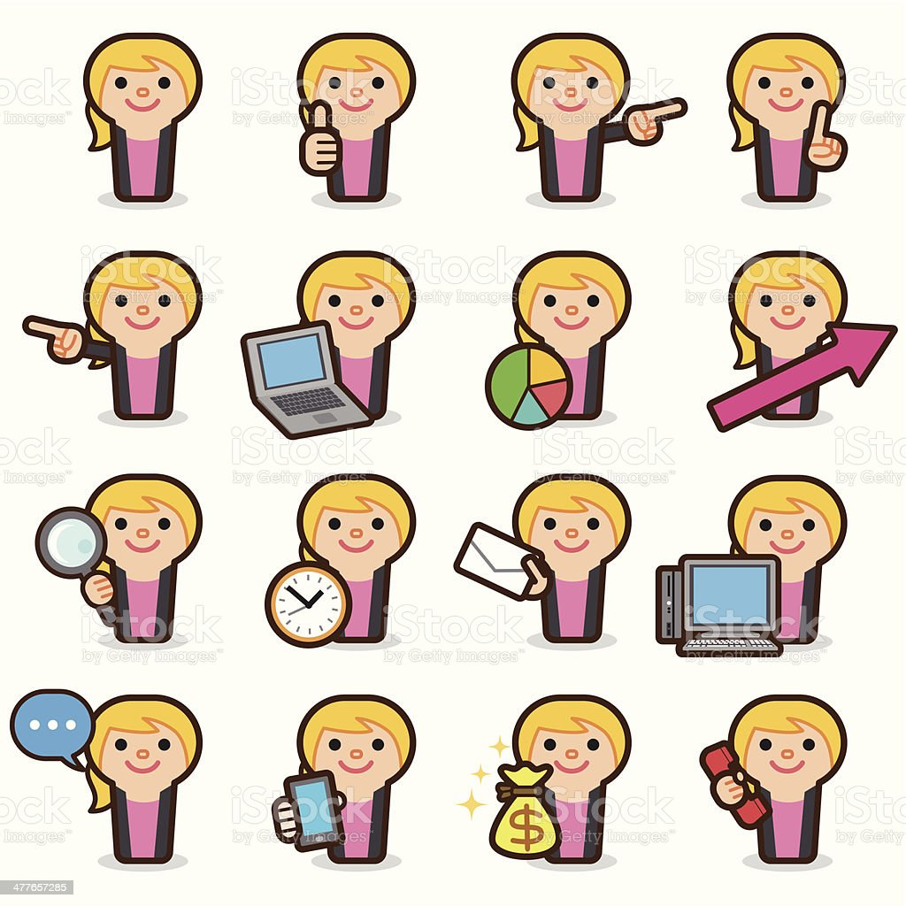 Business woman icons vector art illustration