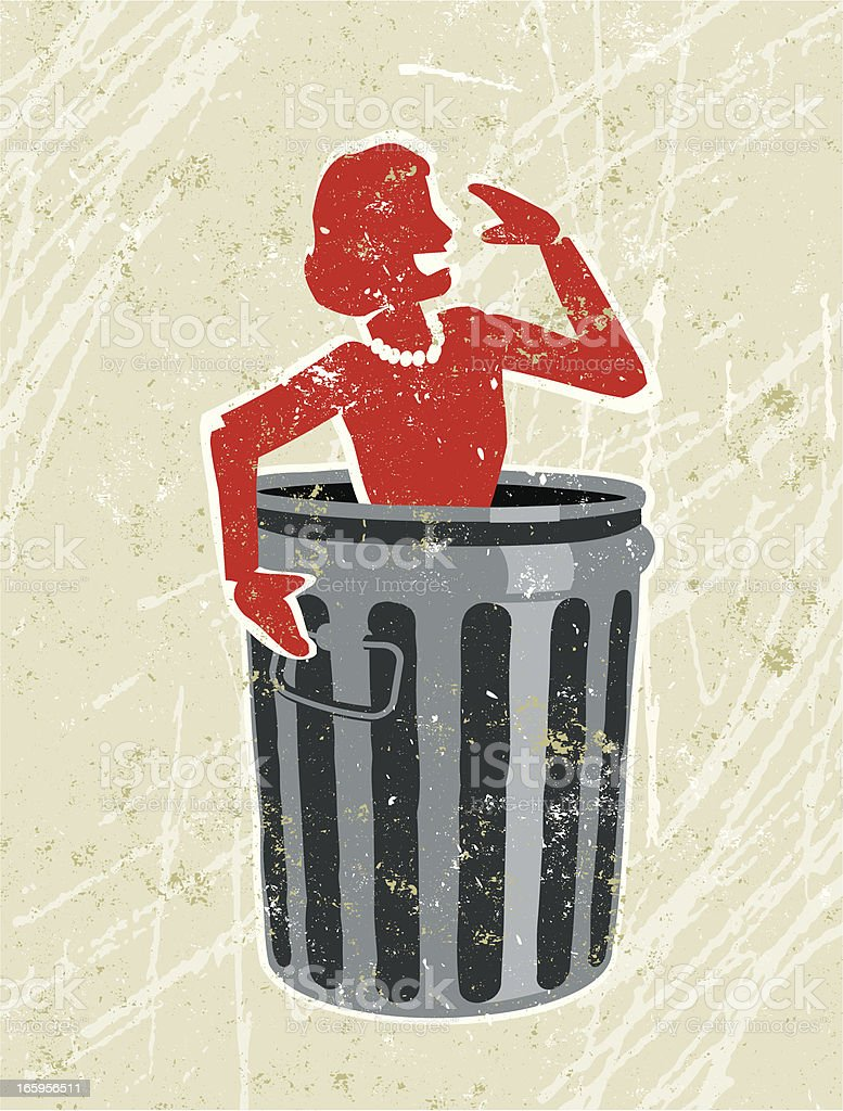 Business Woman in a Rubbish Bin royalty-free stock vector art