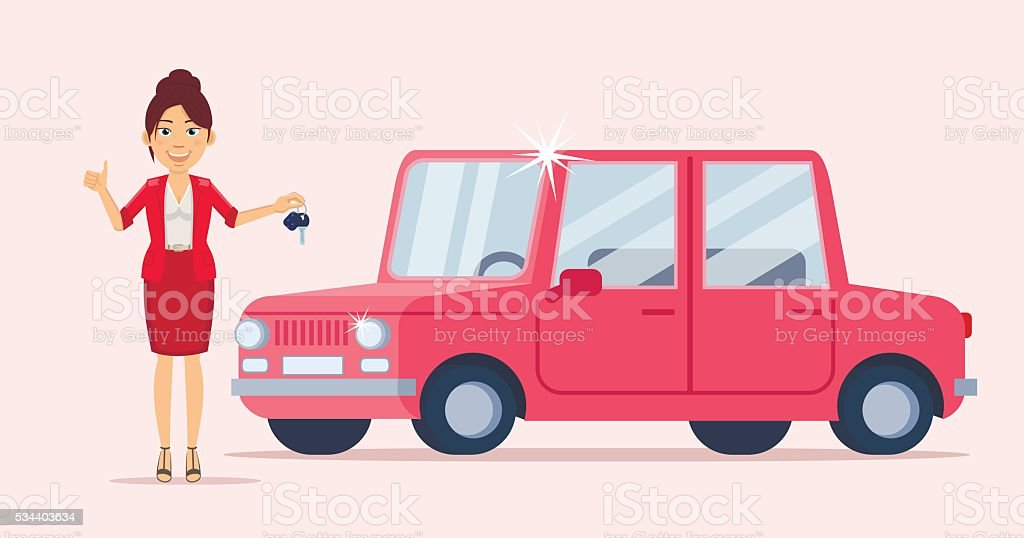 Business woman in red standing near a car vector art illustration
