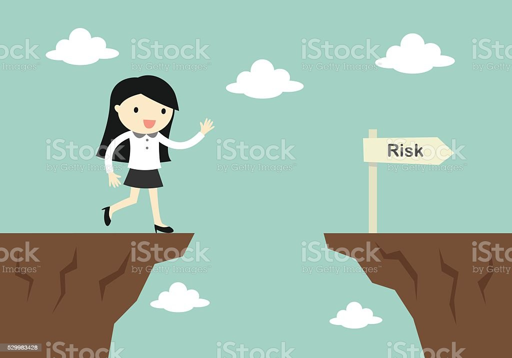 business woman is careless while running in front of gap. vector art illustration