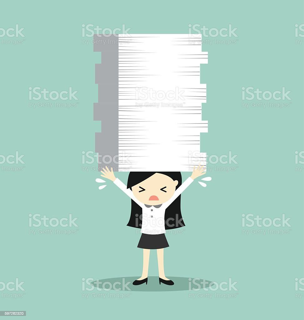 Business woman is holding a lot of papers. vector art illustration