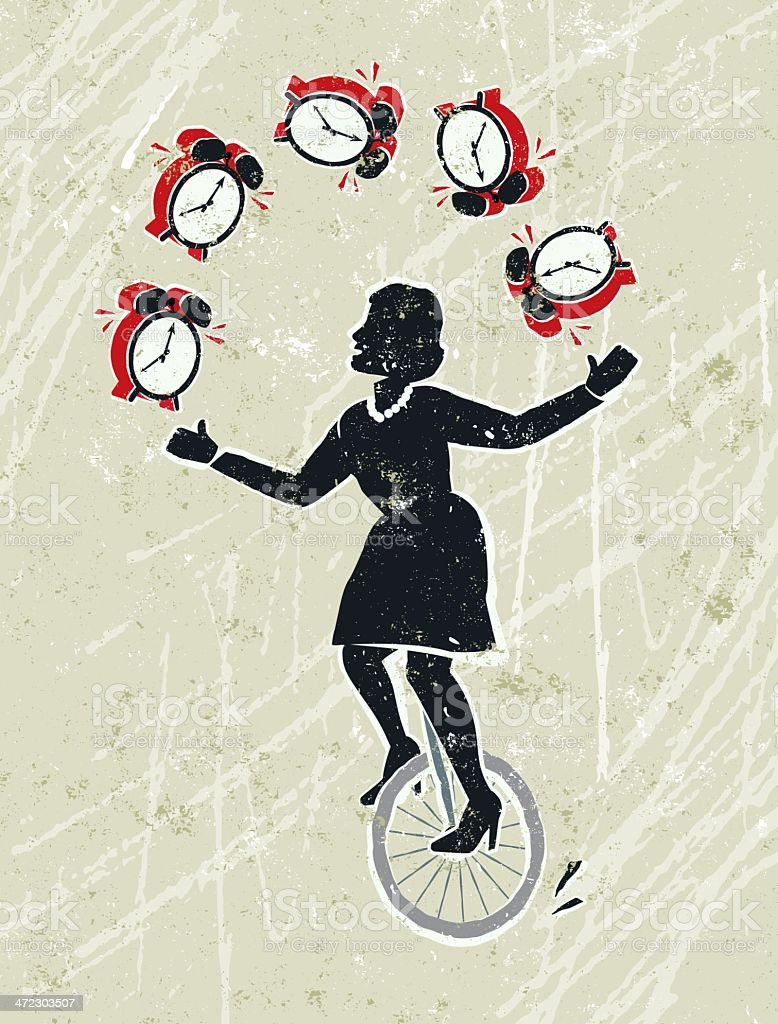 Business Woman Juggling Alarm Clocks Whilst Riding a Unicycle royalty-free stock vector art