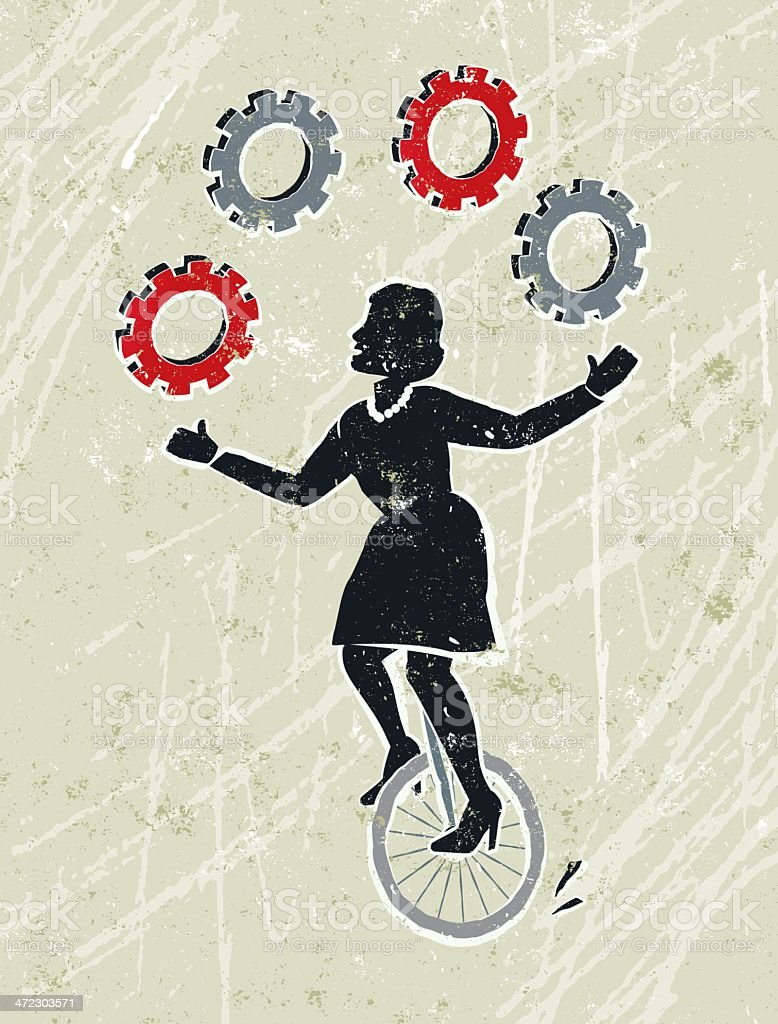 Business Woman Juggling Cog Wheel Gears Whilst Riding a Unicycle royalty-free stock vector art