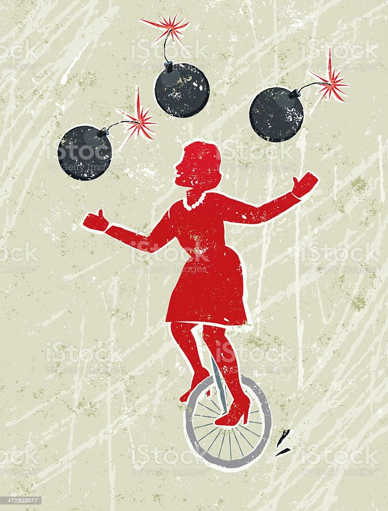 Business Woman Juggling Lit Bombs Whilst Riding a Unicycle vector art illustration