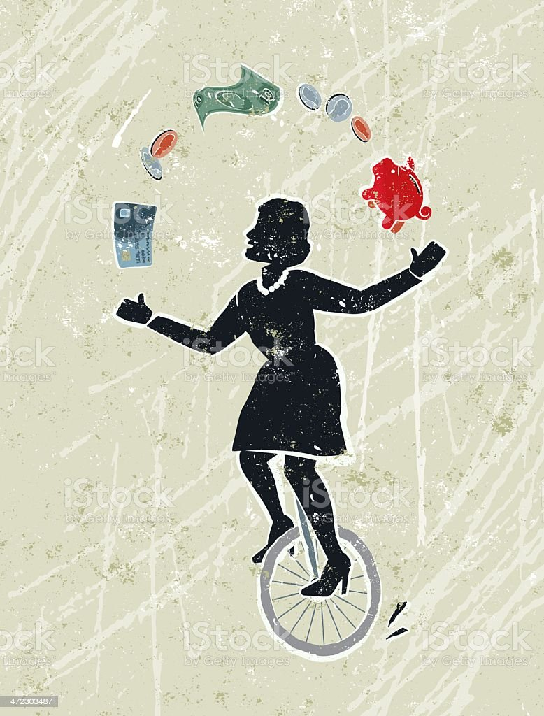 Business Woman Juggling Money Icons Whilst Riding a Unicycle vector art illustration
