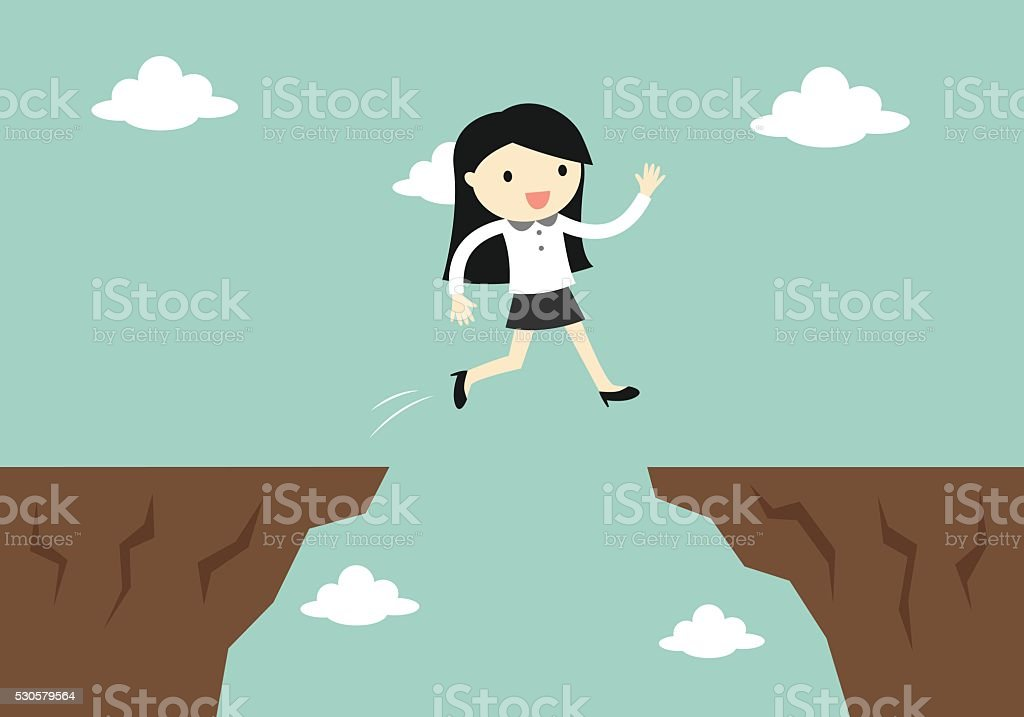 business woman jump through the gap to another cliff. vector art illustration