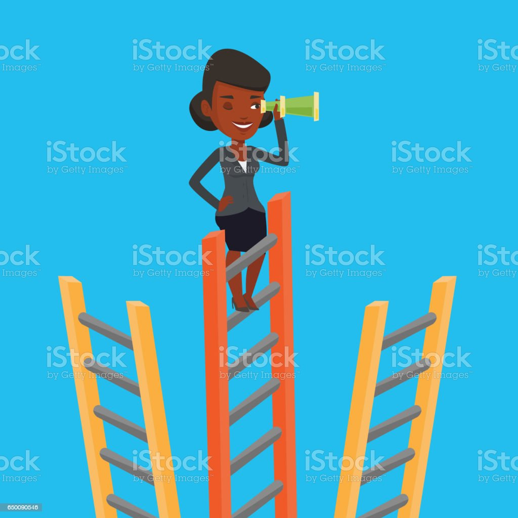 Business woman looking for business opportunities vector art illustration