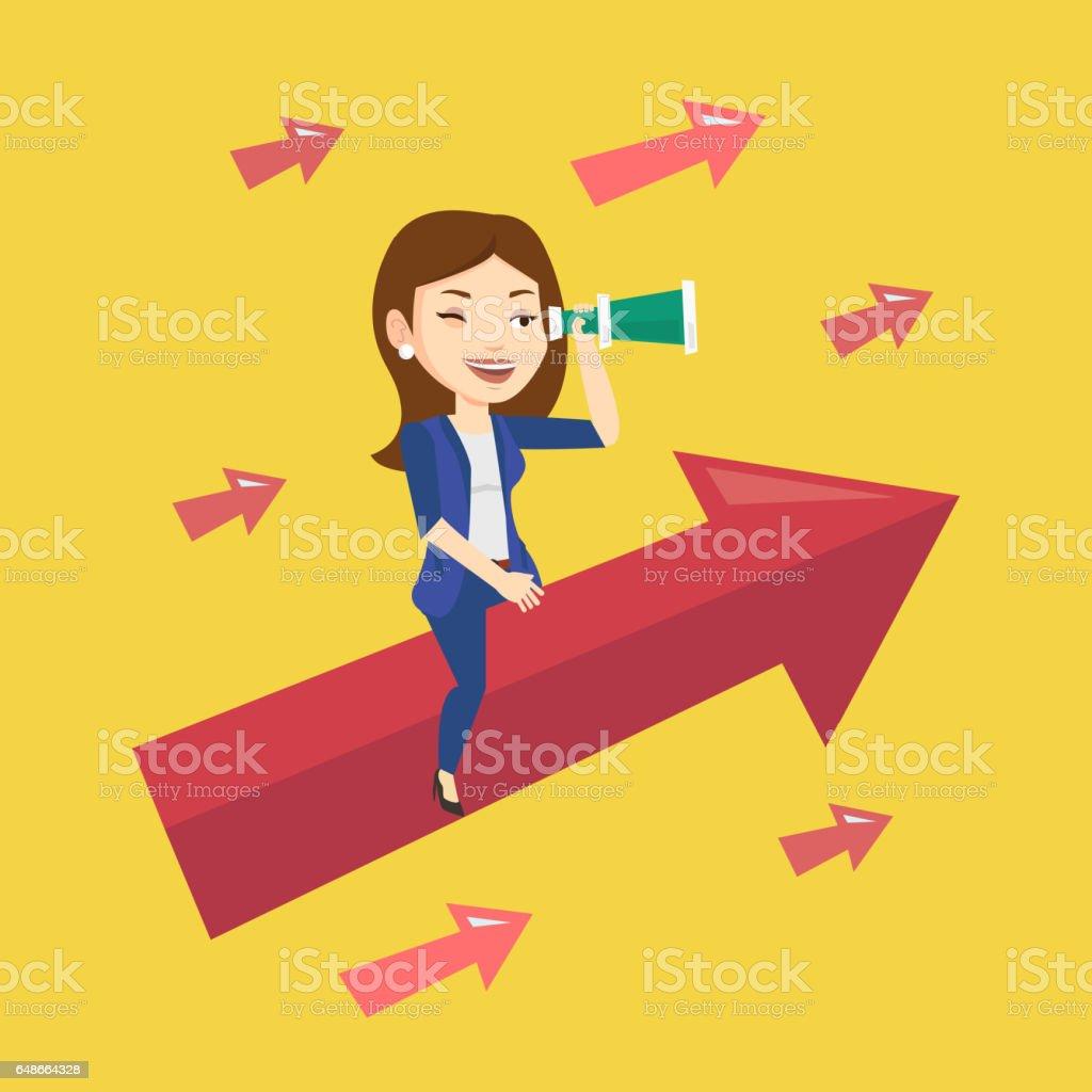 Business woman looking through spyglass vector art illustration