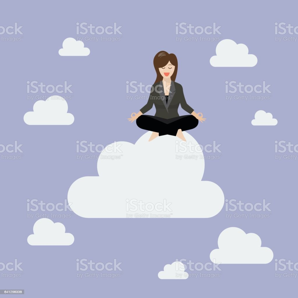 Business woman meditating on a cloud vector art illustration