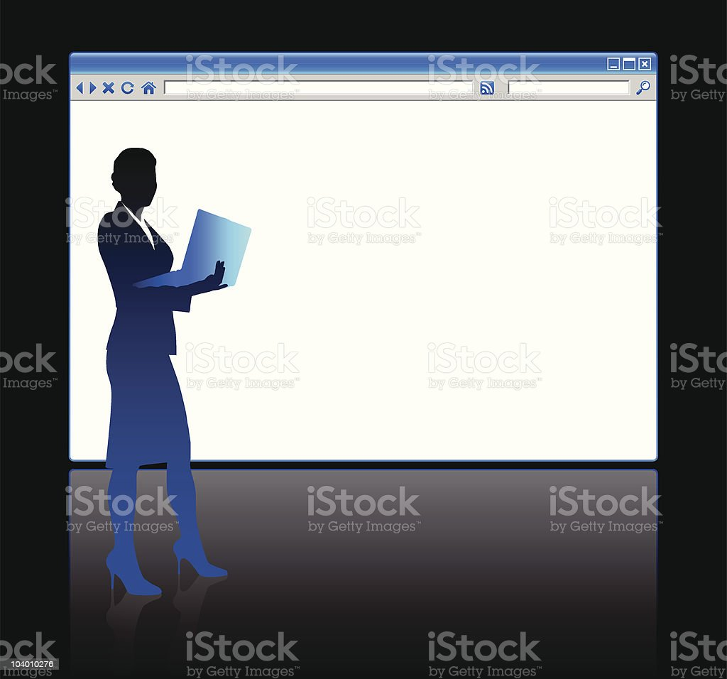 Business woman on background with web browser blank page royalty-free stock vector art