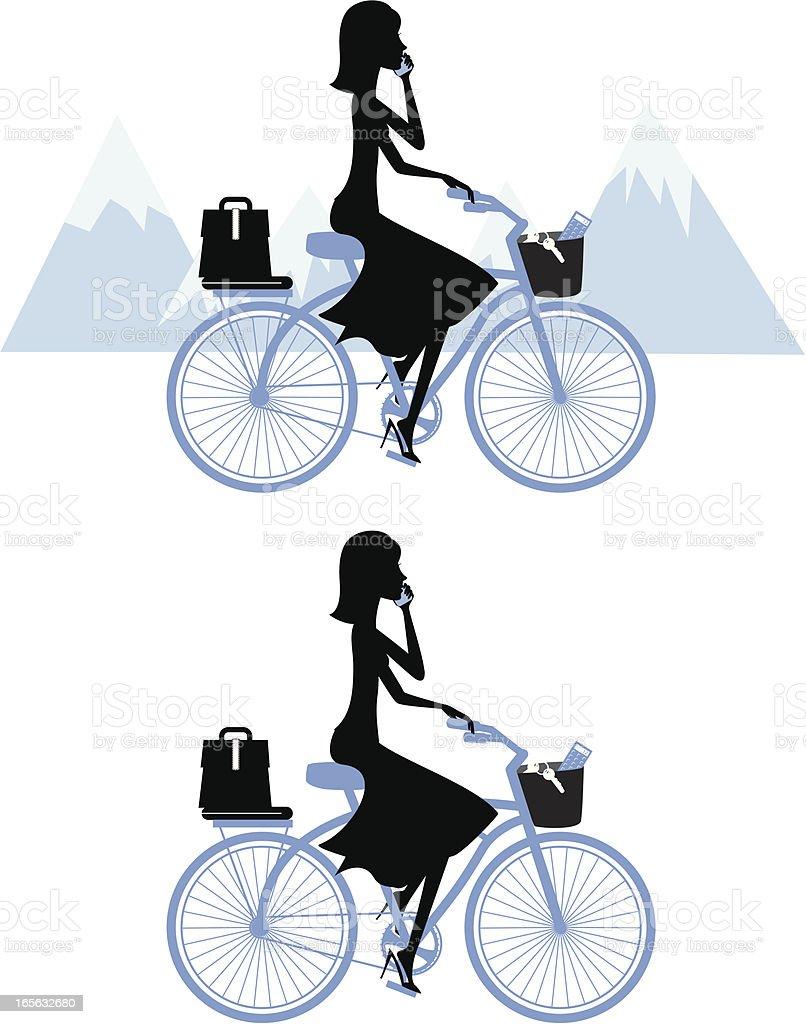 Business Woman on Bike vector art illustration
