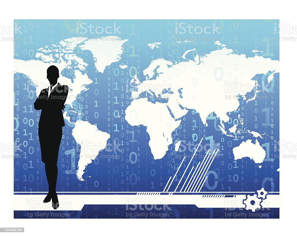 Business woman on global digital background royalty-free stock vector art