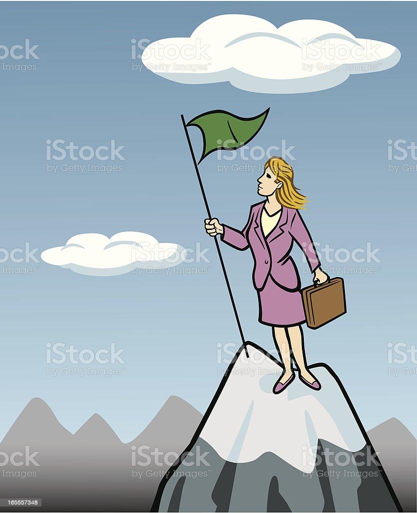 Business Woman on Mountain vector art illustration