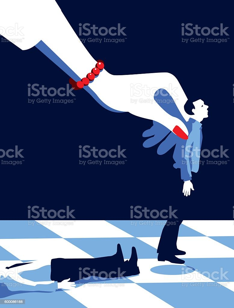 Business Woman Playing Chess with Men Pieces vector art illustration