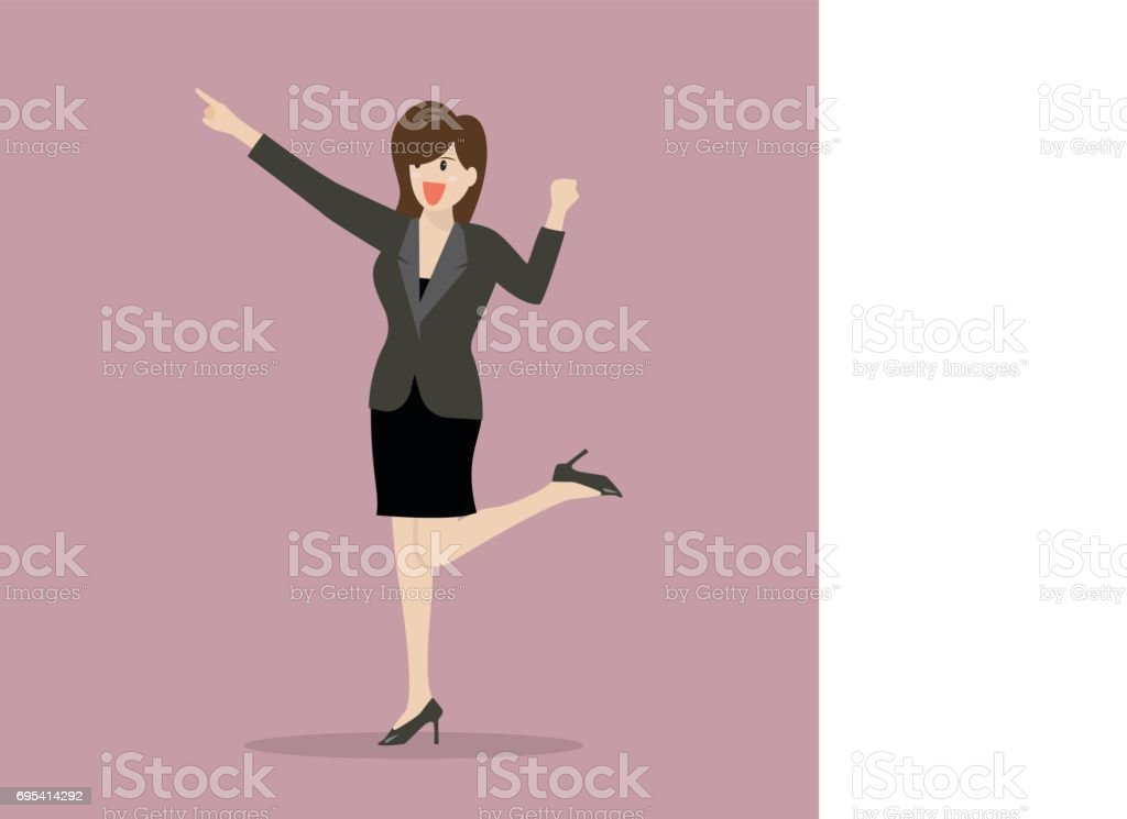 Business woman pointing and celebrating success vector art illustration