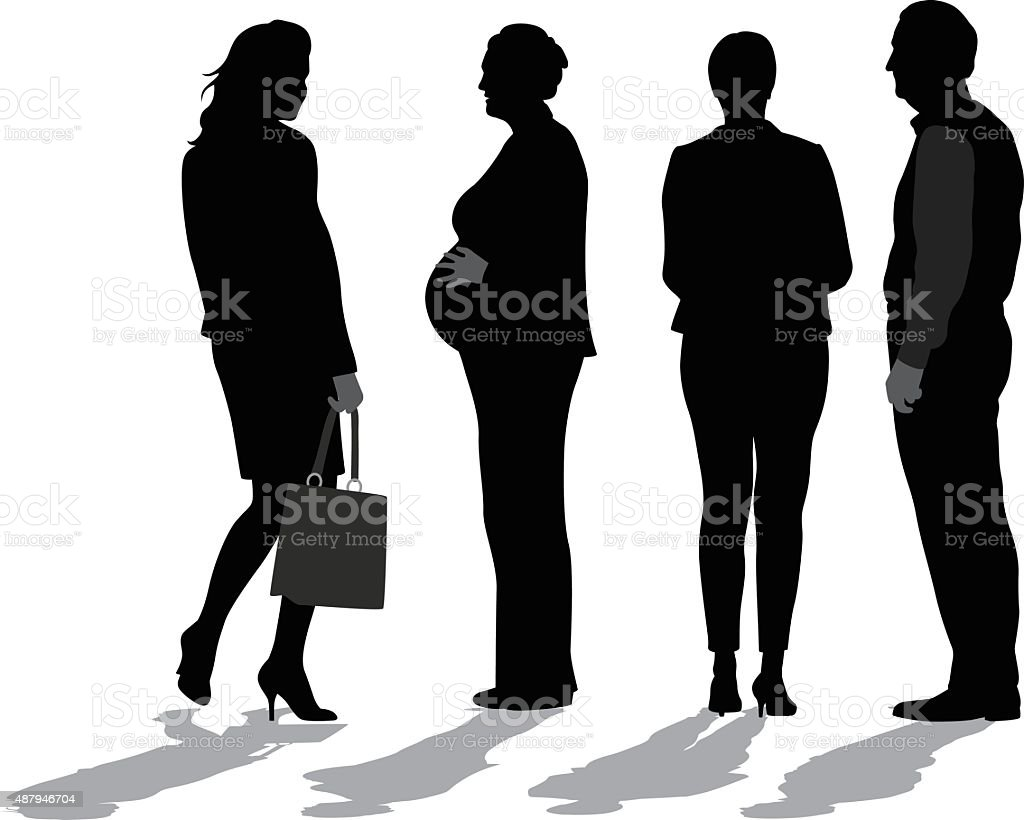 Business Woman  Pregnant And Working vector art illustration