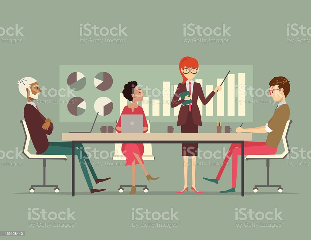 Business woman presenting a growth chart at a business meeting vector art illustration