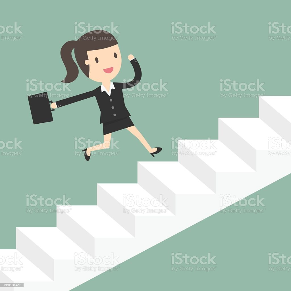 Business Woman Running Up Stairs. vector art illustration