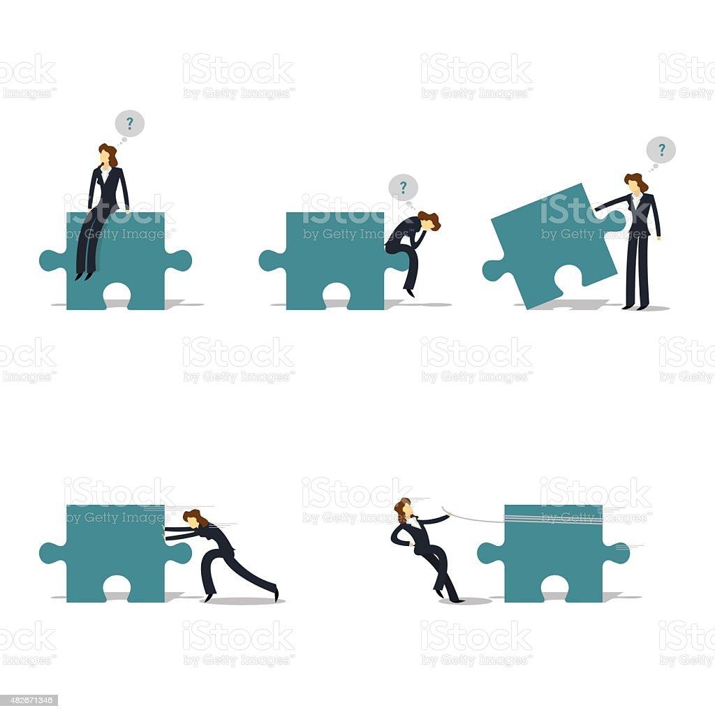 Business woman set vector art illustration