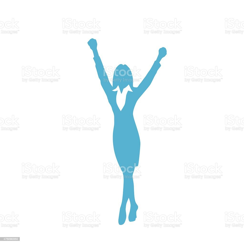Business Woman Silhouette Excited Hold Hands Up vector art illustration