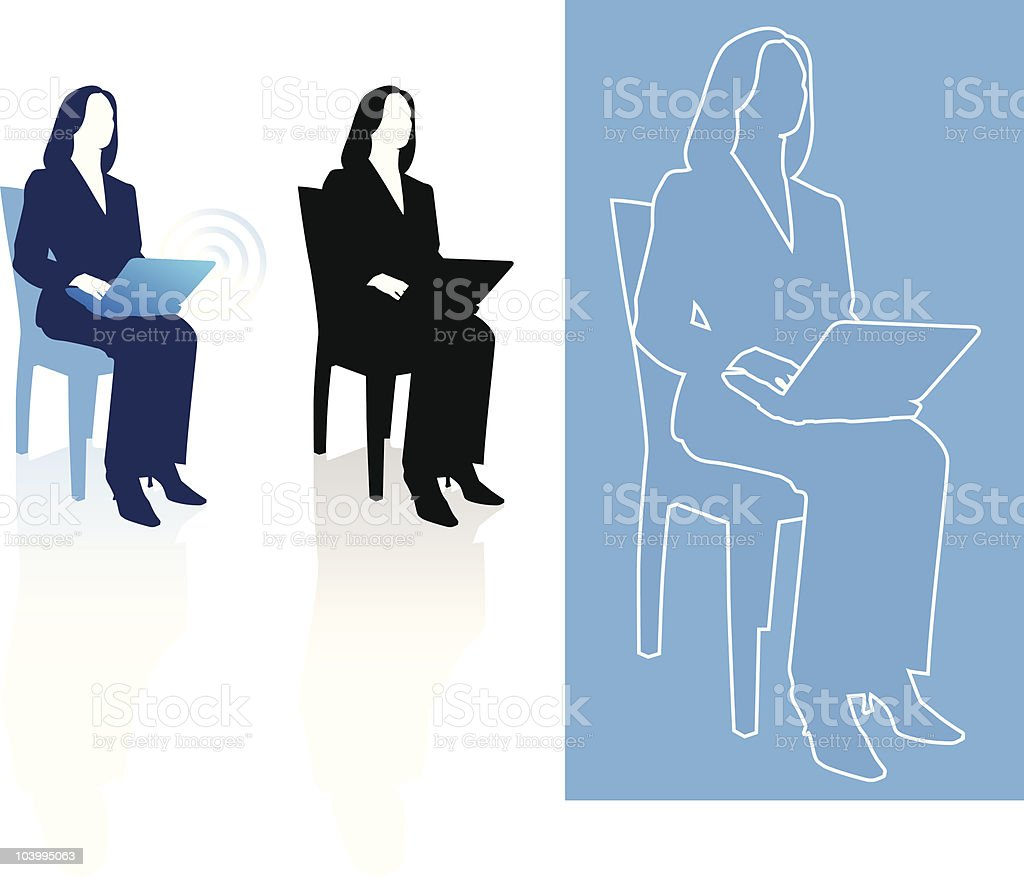 Business woman sitting in chair with laptop royalty-free stock vector art