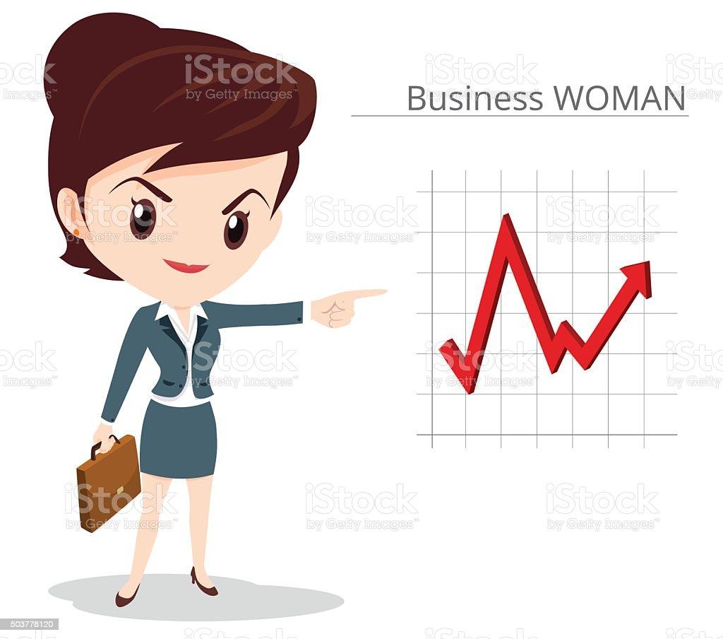 Business woman skirt suit vector art illustration