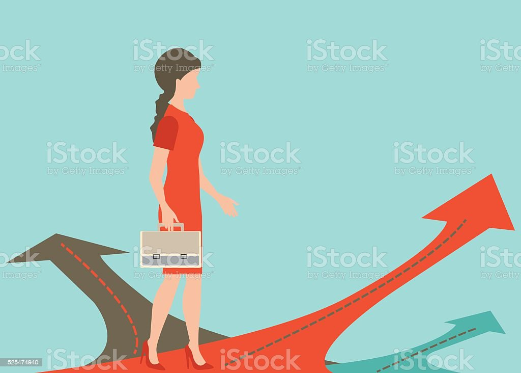 Business woman standing on the arrow. vector art illustration