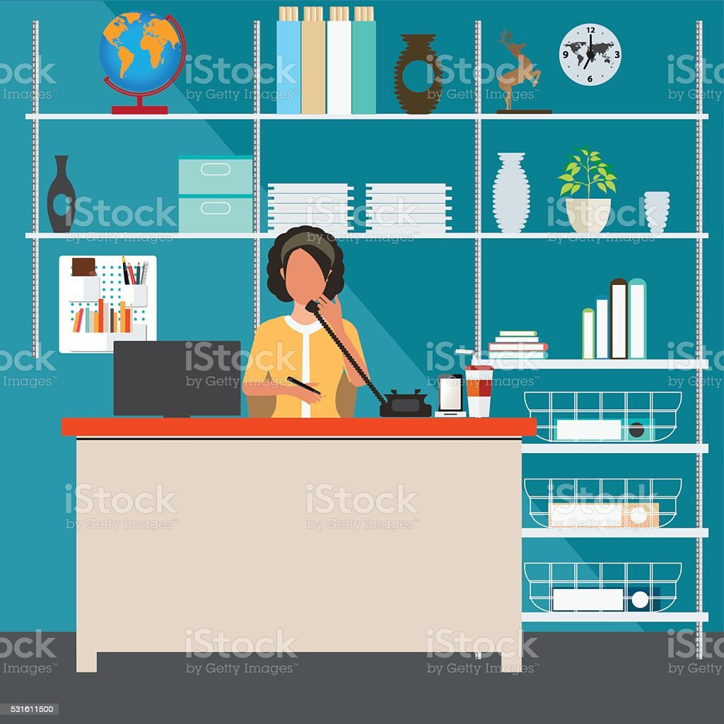 Business woman talking on the phone in office. vector art illustration