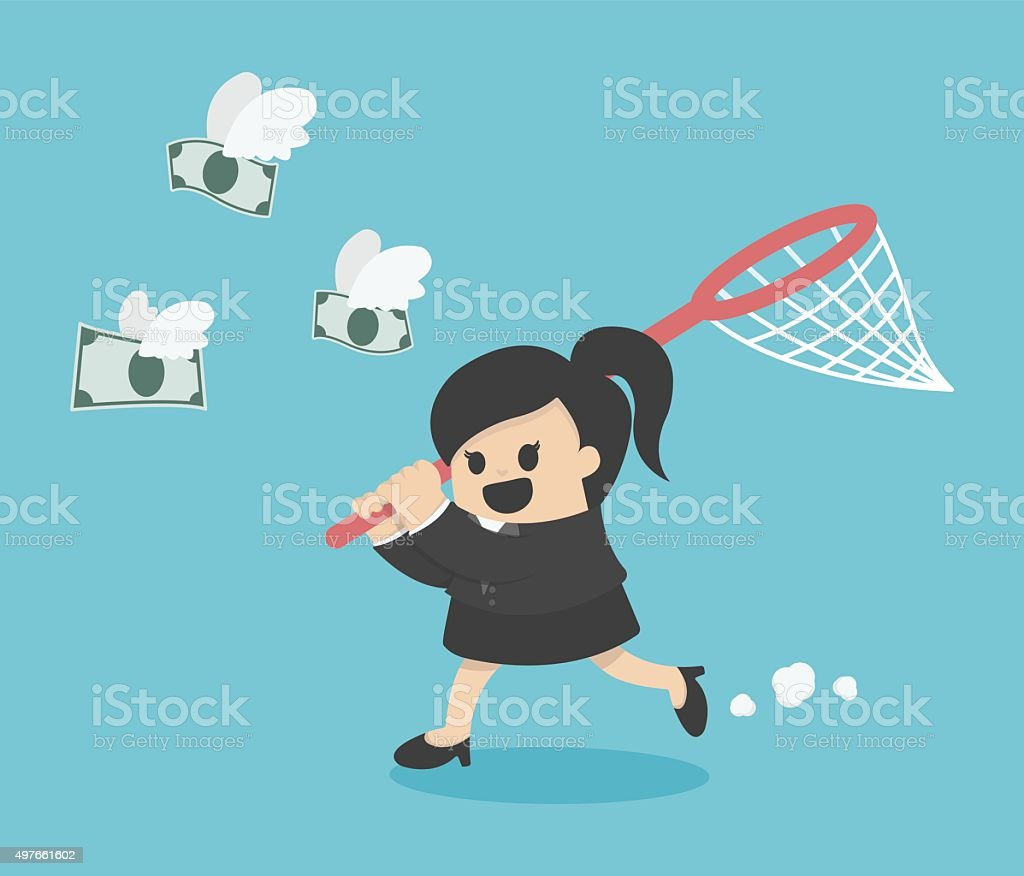 business woman trying to catch money vector art illustration