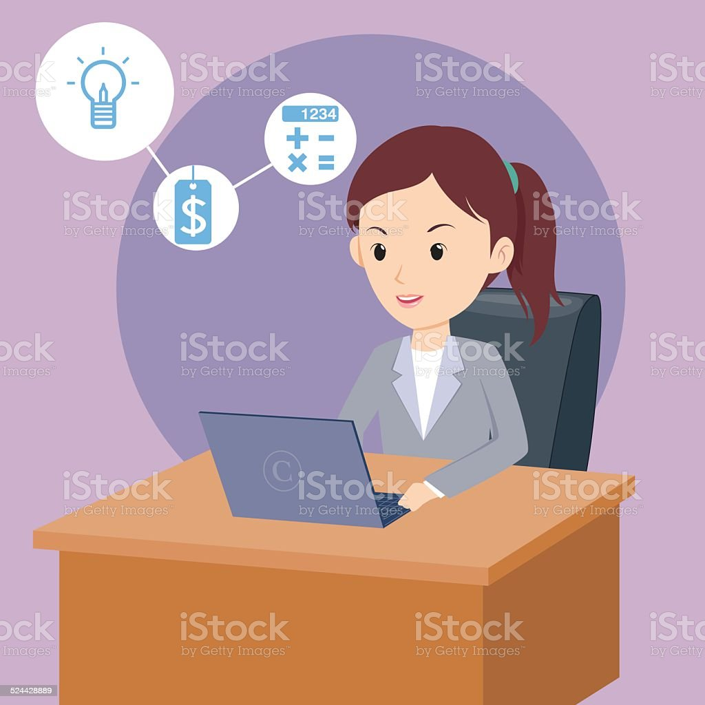 business woman vector art illustration