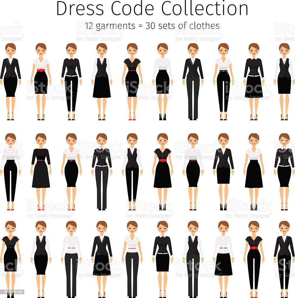 Business woman vector set vector art illustration